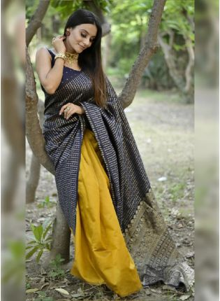 Pleasant Yellow and Blue Color Combination Jacquard Saree