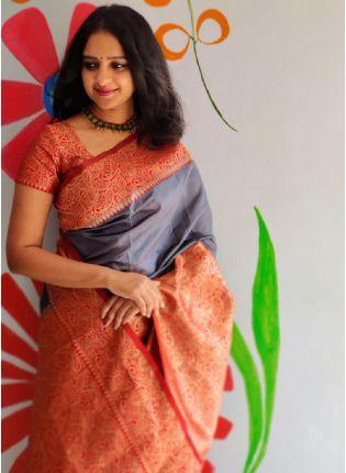 Smashing Grey Color With Red Blouse Banarasi Saree