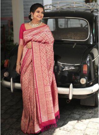 Charming Pink Color Banarasi Silk Base Wedding Wear Saree