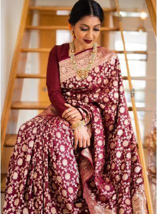Shiny Wine Color Silk Base Bnarasi Saree