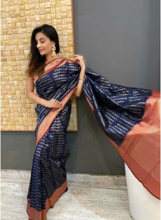 Admirable Navy Blue Color Silk Base Embroidered Saree