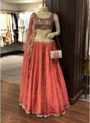 Splendid Orange Color Heavy Sequins Work Elegant Designer lehenga Choli