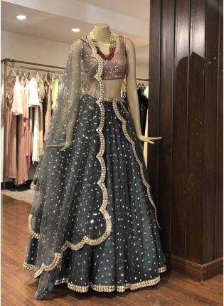 Trendy Stylish Grey Color Heavy Sequins Work Elegant Designer lehenga Choli