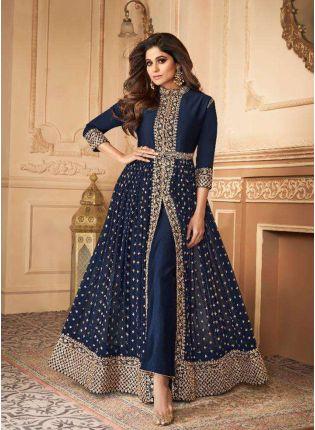 girl in Trendy Navy Blue Slit Cut Anarkali Suit