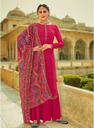 Ravishing Pink Color With Heavy Embroidery Work Salwar Kameez