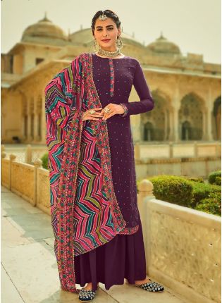 Courteous Purple Color With Heavy Embroidered Work Salwar Kameez