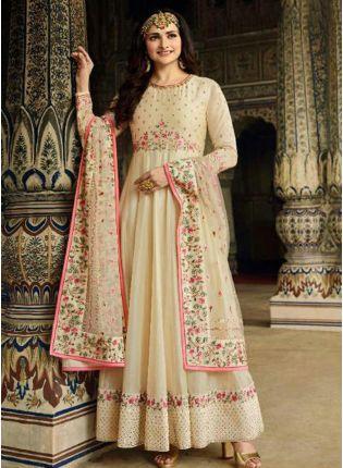Splendid Off-White Art Silk Floor Length Salwar Suit for casual wear