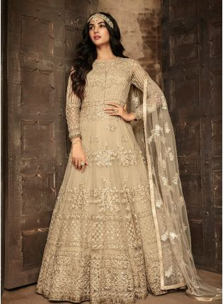 Fabulous Beige Color With Soft Net Base Gown
