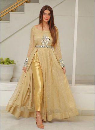 Beige Sequins Mirrorwork Georgette Pant Style Salwar Suit