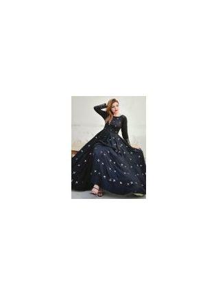 Black Mirrorwork Designer Party Wear Gown