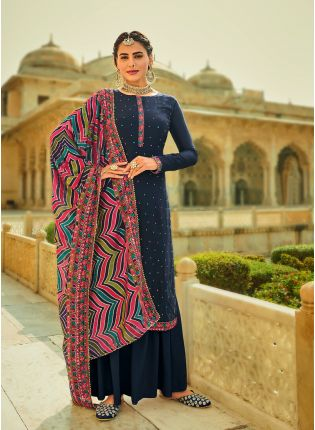 Admirable Navy Blue Color With Heavy Embroidered Salwar Kameez