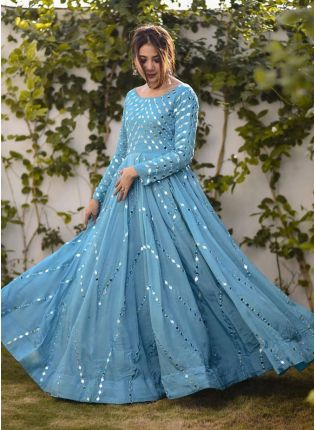 Blue Designer Georgette Party Were Gown