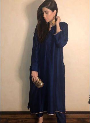 Top Splendid Navy Blue Casual Wear Plain Silk Base Pant Style Suit