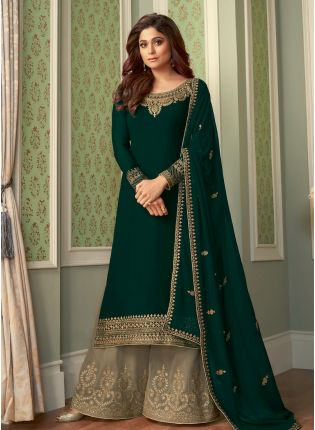 Charming Look Bottle Green Color Georgette Base Heavy Work Sharara Suit