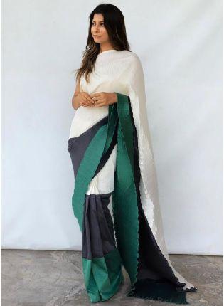 Attractive Three Shades Party Wear Chino Fabric Base Saree