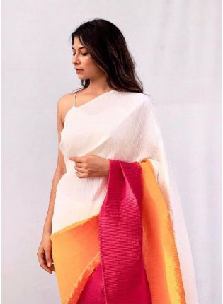 Stylish Triple Color Primmum Chino Fabric Base Saree With Silk Blouse