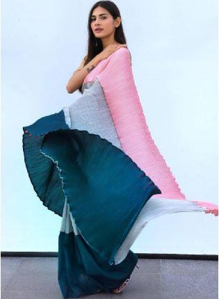 Admirable Triple Color Chino Fabric Designer Base Saree With Silk Blouse