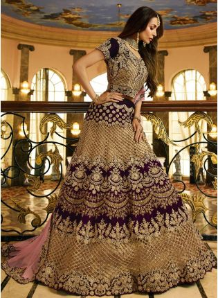 Purchase Purple Zari Dori Velvet Bollywood Lehenga Choli