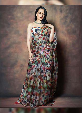 Trendy Iconic Multi-Color Organza Base Digital Printed Saree