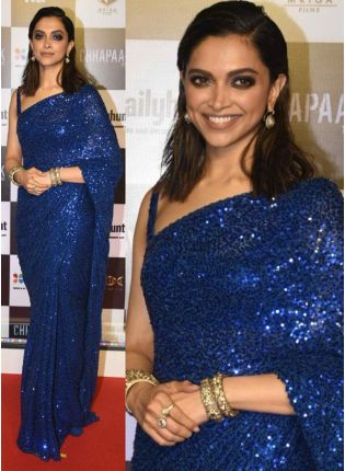 Iconic Royal Blue Sequin And Georgette Bollywood Saree