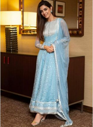 Purchase Sky Blue Color Party Wear Designer Net Base Sequins Work Anarkali Suit