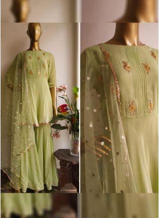 Iconic Pista Green Color Party Wear Designer Georgette Base Salwar Kameez Suit