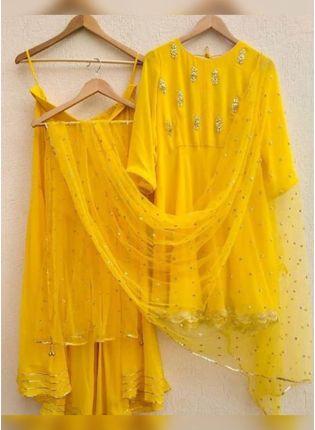 Splendid Tempting Bright Yellow Georgette Base Gota Patti Work Sharara Suit