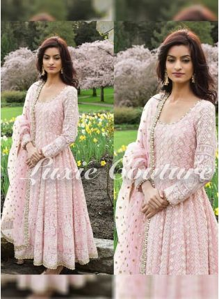 Stylish Blush Pink Color Party Wear Heavy Thread Work Anarkali Suit