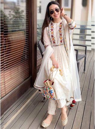 Best Off White Color Party Wear Georgette Base Designer Salwar Kameez Suit