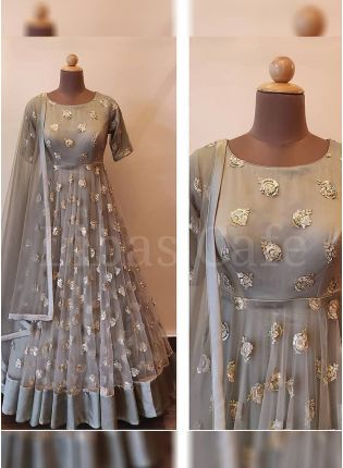 Buy Designer Grey Color Party Wear Soft Net Base Sequins Work Gown