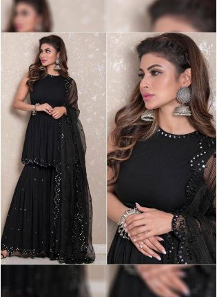 Iconic Black Color Party Wear Georgette Base Designer Sharara Suit