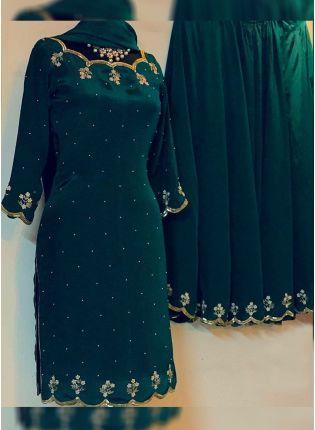 Buy Dark Green Color Georgette Base Heavy Zari And Sequins Work Lehenga Suit