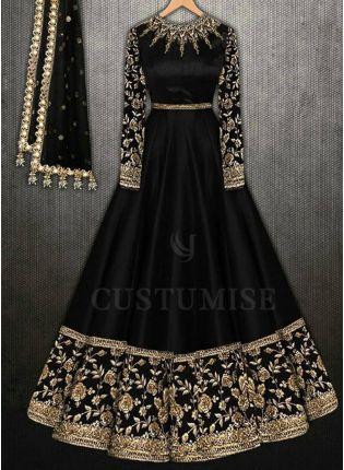 Decent Black Party Wear Embroidery Work Anarkali Suit