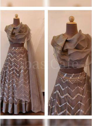 Affordable Light Brown Party Wear Net Base Designer Sequins Work Lehenga Choli