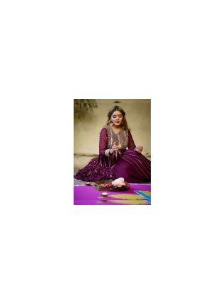 Top Purple Color Party Wear Designer Georgette Base Slit Cut Suit