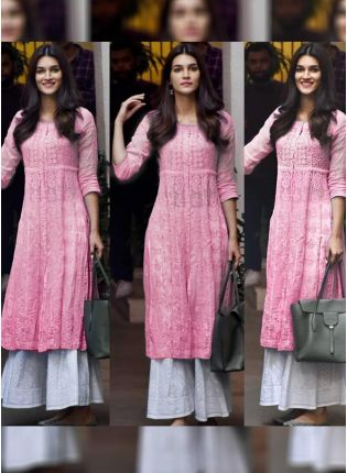 Splendid Pink Color Designer Georgette Base Party Wear Palazzo Suit