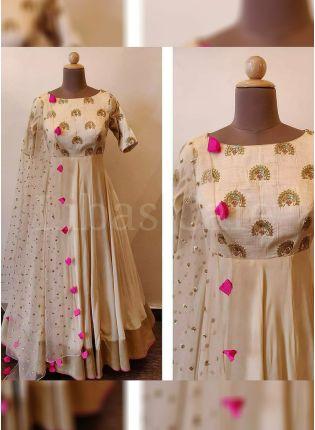 Buy Designer Beige Color Raw Silk Base Party Wear Beige Color Anarkali Suit