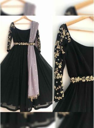 Best Black Georgette Zari Floor Length Salwar Suit for reception