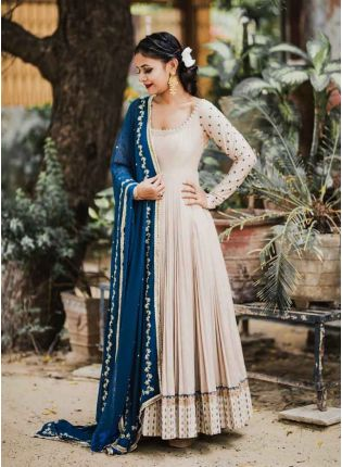 Buy Admirable Cream Color Georgette Base Party Wear Gown