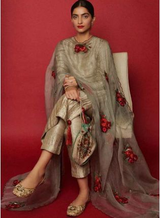 Buy Gold Silk Straight Fit Ceremonial Salwar Suit with dupatta