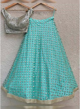 Trendy Sky Blue Color Elegant Designer Net Base Lehenga Choli