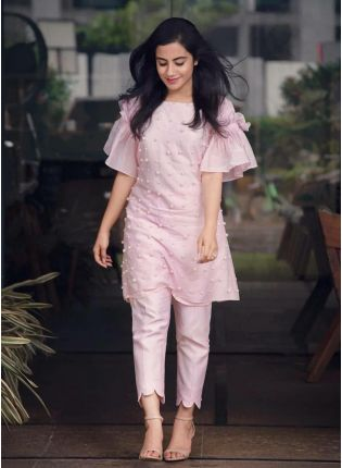 Iconic Baby Pink Color Party Wear Crap Silk Base Pant Style Suit