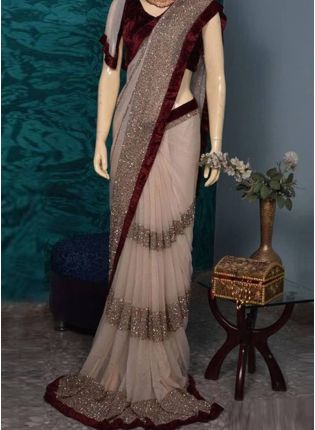 Buy Cream Color With Maroon Blouse Designer Party Wear Sraee