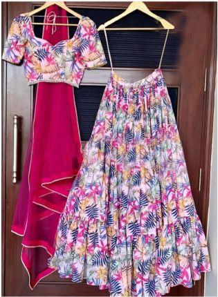 Attractive Multicolored Digital Printed Silk Lehenga Choli Set