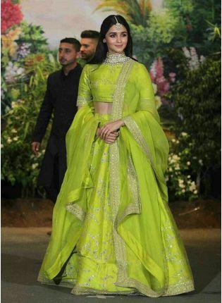 Affordable Exclusive Neon Green Color Wedding Wear Lehenga Choli
