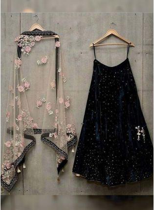 Trendy Black Color Velvet Base Designer Lehenga Choli