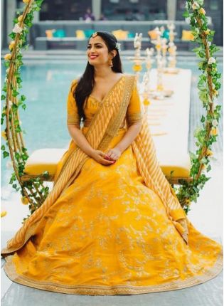 Shop Spectacular Mustard Yellow Banglori Silk Base Lehenga Choli