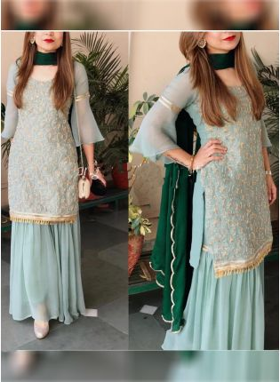 Iconic Sea Green Color Georgette Base Party Wear Designer Sharara Suit
