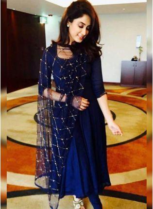 Shop Navy Blue Color Party Wear Designer Georgette Base Salwaer Kameez Suit
