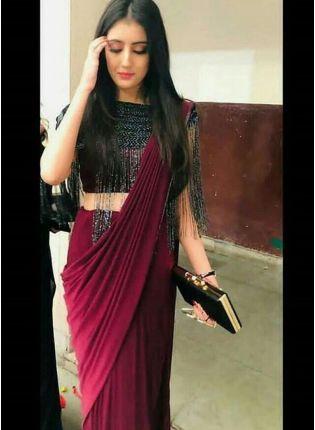 Purchase Delightful Party Wear Maroon Silk Readymade Saree